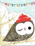 MADISON PARK GREETINGS クリスマスカード <ふくろう×帽子>