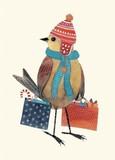 MADISON PARK GREETINGS クリスマスミニカード <鳥×帽子>