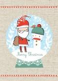 MADISON PARK GREETINGS クリスマスミニカード <サンタ×スノーマン>