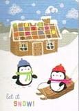 MADISON PARK GREETINGS クリスマスミニカード <ペンギン×お菓子の家>