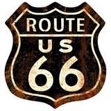 【スティールサイン】【ルート66&ストリート】Route 66 Rusty<看板> ★アメリカ製★