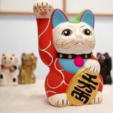 【手描き】唐草招き猫 貯金箱