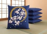 【 SALE  この春値下げしました】綿座布団カバー 円相桜 5枚組<さくら 花柄 和柄>