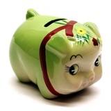 花豚バンク グリーン キュートなぶたの貯金箱
