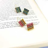 Pierced Earring Oriental Color Ring Chain Square