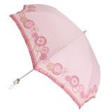 【晴雨兼用】折たたみ傘/綿麻 多色サークル柄刺繍傘