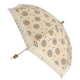 【日本製晴雨兼用】折たたみ傘/カラードコットンプリント生地 裾綿レース傘