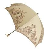 【晴雨兼用】折たたみ傘/綿サテン 2色刺繍傘