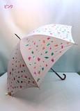 通年新作)雨傘・長傘−婦人 グラスファイバー骨細巻き合板手元紙吹雪柄ジャンプ傘