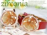 革バンド レディース ジルコニア ラウンド ドレス ウォッチ 腕時計 -Lady's watch-  LW-3967