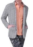 <2014年春物新作>ニット テーラードジャケット / メンズ 春夏 綿 長袖 編み柄