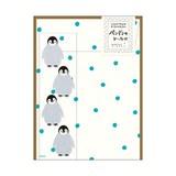 【かわいい動物シール付き】 レターセット416 ペンギン柄 シール付