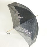 【晴雨兼用】中棒スライドショート傘★絹ジャガード 裾オーガンジー花刺繍傘