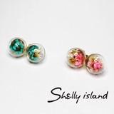 【Shelly island】お花ガラスピアス