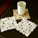 【最終処分価格】ローズ刺繍&カットワークコースター【SALE】