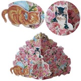 キャット ローズ ポップアップ グリーティング カード 猫 薔薇