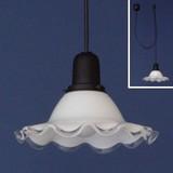 昭和レトロ コード吊フラワーガラスペンダントライト<照明・アンティーク・インテリア・ライト・日本製・花