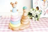 【木製玩具】虹のリングタワー
