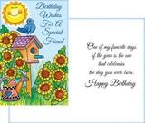 Stockwell Greetings グリーティングカード バースデー(フレンド) <ヒマワリ×鳥・太陽>
