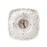 ラインストーン付きホワイトカラー バラ柄置き時計