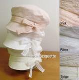【お買い得!】ガーリーなマリン風レースリボンキャスケット<3color・日本製・UV対策>
