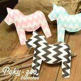 【 Poky-zoo 】馬 ホース クッション ブローチ。3色展開!北欧テイスト***