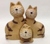陶器ドッキング猫 三点セット