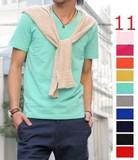 <2014年夏物新作>ベア天 無地 ソリッド Tシャツ / メンズ 半そで 半袖 多色 シンプル