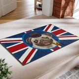 【直送可】【洗える玄関マット】アニマル柄 英国紳士風のパグとユニオンフラッグがポップなデザインマット
