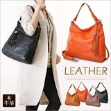 Cow Leather Tassel Tote Bag