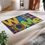【直送可】【洗える玄関マット】カラフルな色使いで明るくポップな玄関を演出 Welcomeマット