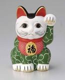 職人の手書きです。日本製。■【招き猫/貯金箱/インバウンド】緑唐草招き猫8号