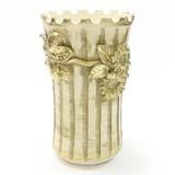 【イタリア製】陶器傘立て(花・アイボリー&ゴールド)
