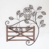 【ウォールデコ/壁飾り】OWL on フェンス ウォールデコ +鳥 +フクロウ