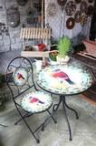 【家具・テーブル】<鮮やかな小鳥のガーデンテーブル>Mosaic テーブル Bird +ガーデン