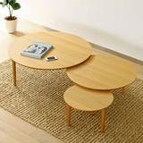 [直送可][日本製][ホワイトオーク材] 3枚テーブル 幅 90cm