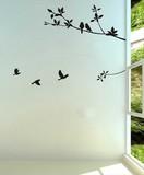 特大サイズ【木と小鳥たち】転写ウォールステッカー/モノクロ