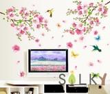 【ハチドリと梅の花】ウォールステッカー/カラフル/フラワー/鳥