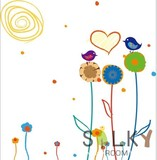 【小鳥と太陽とお花スケッチ】ウォールステッカー/植物