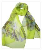 薄くすける100%シフォンシルクアニマ蝶々柄ロングスカーフ 0607