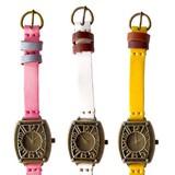 【本革】トノー型ビビッドカラー腕時計<アンティークシリーズ>