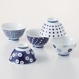 【SALE】藍丸紋 飯碗揃(5柄5個セット) 波佐見焼