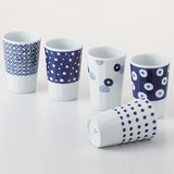 【SALE】藍丸紋 軽量フリーカップ揃 (5柄5個セット) 波佐見焼