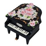 【 ミニピアノ型オルゴール 】 ブラック・レッド ♪ノクターン / カノンB