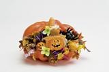 【ハロウィン雑貨/装飾品】 ビッグパンプキンアレンジ 幅23cm[かぼちゃディスプレイ]