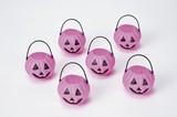 【ハロウィン雑貨】 ピンク パンプキンポット6個組(ハンドル付) [小物入れ/小物ケース/お菓子 箱]