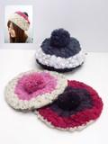 【値下げ!】ケーブル編みニットベレー帽子<3color・かわいい・キッズ>