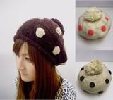 【値下げ!】水玉模様のニットベレー帽子<3color・かわいい・キッズ>