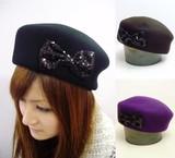 キラキラスパンコールリボンの帽体ベレー<3color・おしゃれ・イベント>