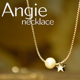 再入荷【Angie】コットンパール&スター ゴールド ネックレス!シンプル&フェミニン!***